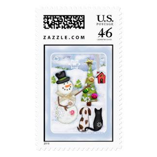 Christmas Snowman Pets Postage Stamp Custom