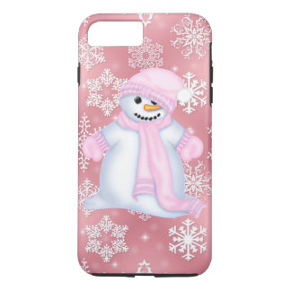 Christmas snowman pink iPhone 7 plus case