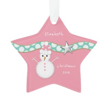 Christmas Themed Christmas snowman pink star ornament Granddaughter