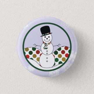Christmas Snowman Polkadot Art Pinback Button