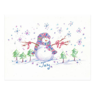 Christmas Snowman Post Card Frosty Joy Drawing Art