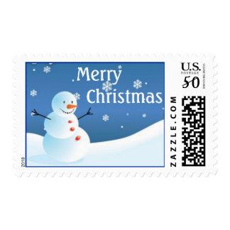 Christmas Snowman postage stamp