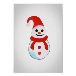 Christmas snowman poster - watercolor design
