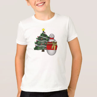 Christmas Snowman Present Holiday Kids T-Shirt