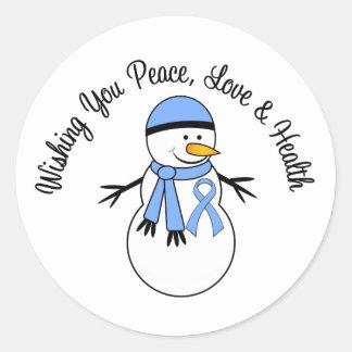 Christmas Snowman Prostate Cancer Ribbon Round Sticker