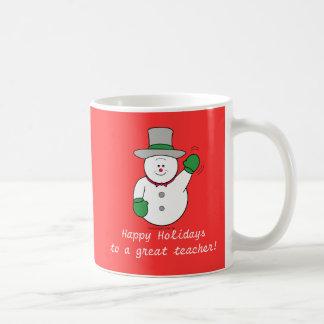 Christmas Snowman Red Teacher's Mug