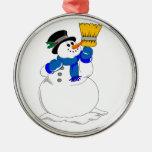 Christmas Snowman Round Metal Christmas Ornament