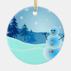 Christmas Snowman Round Ornament at Zazzle