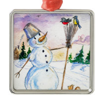 Christmas snowman Russian style card Metal Ornament