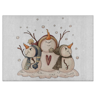 Christmas Snowman Rustic Country Primitive Winter Cutting Board