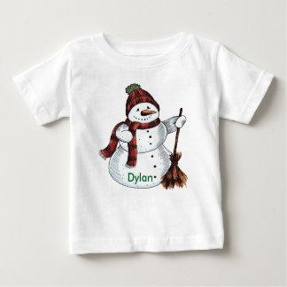 Christmas Snowman Shirt Monogram Red & White