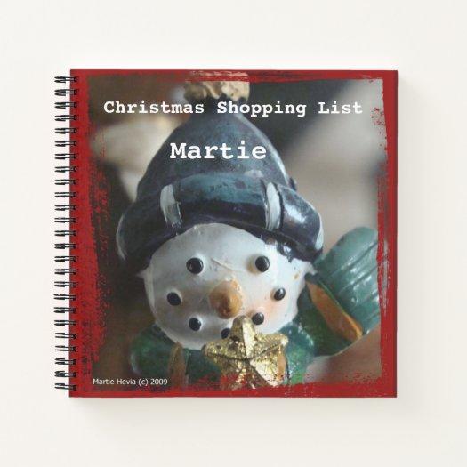 Christmas Snowman Shopping List Spiral Notebook