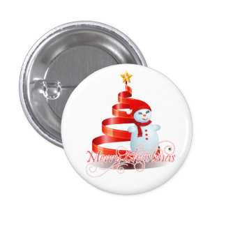 Christmas Snowman - Small, 1¼ Inch Round Button