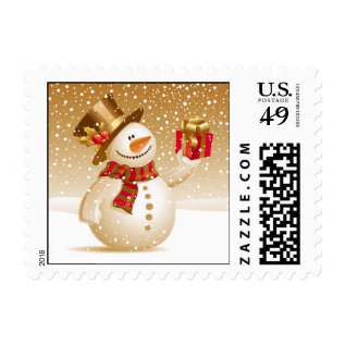 Christmas Snowman Small Postages Postage at Zazzle