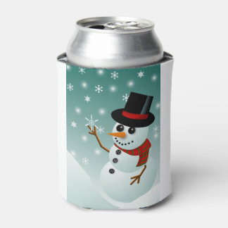 Christmas snowman, snow and snowflakes can cooler
