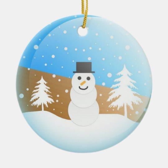 Christmas Snowman Snow globe Ceramic Ornament