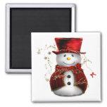 Christmas Snowman square magnet