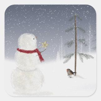 Christmas Snowman Star Square Sticker