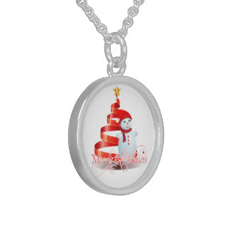 Christmas Snowman Sterling Silver Round Necklace