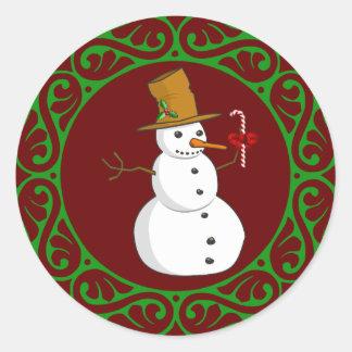 Christmas Snowman Classic Round Sticker