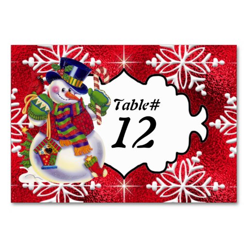Christmas snowman table number card zazzle for 12 days of christmas table numbers