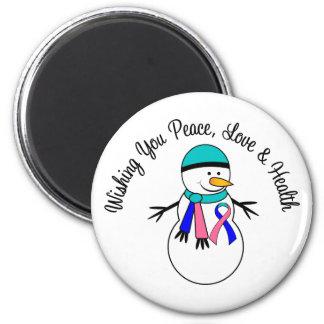 Christmas Snowman Thyroid Cancer Ribbon 2 Inch Round Magnet