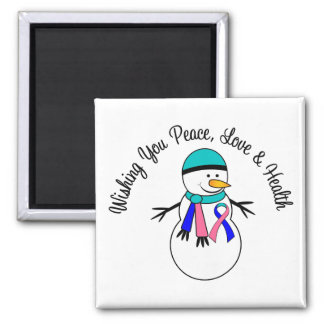 Christmas Snowman Thyroid Cancer Ribbon 2 Inch Square Magnet