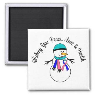 Christmas Snowman Thyroid Cancer Ribbon Fridge Magnet