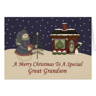Christmas Snowman To A Special Great Grandson Card