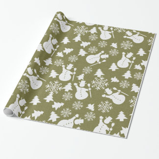 Christmas  snowman vintage gift wrapping paper