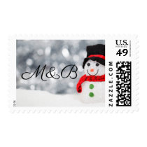 Christmas Snowman w Top Hat Monogrammed Initials Postage
