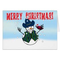 Christmas Snowman Wearing Cowboy Hats Card