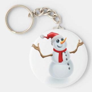 Christmas Snowman Wearing Santa Hat Key Chain