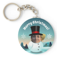 Christmas Snowman With Any Face You Like Keychain