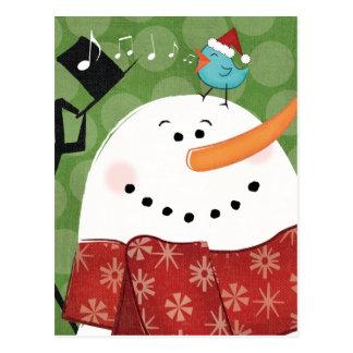 Christmas Snowman with Bird Postcard