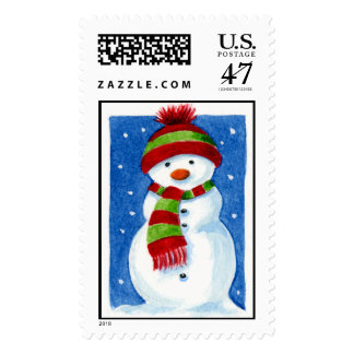 Christmas Snowman with Border Postage Stamp