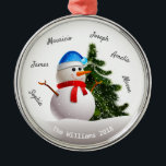 """Christmas Snowman With Family Names Metal Ornament<br><div class=""""desc"""">Christmas Snowman With Family Names Ornaments.</div>"""