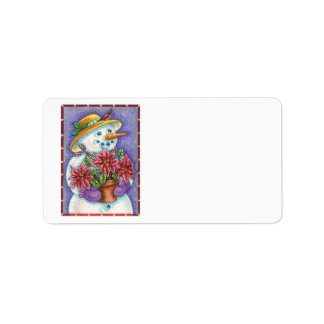 Christmas Snowman with Poinsettia and Wearing Hat Personalized Address Label