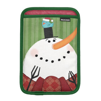 Christmas Snowman with Singing Bird iPad Mini Sleeve