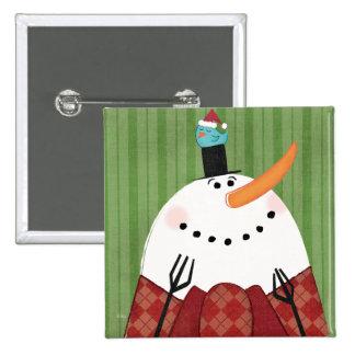 Christmas Snowman with Singing Bird Pinback Button