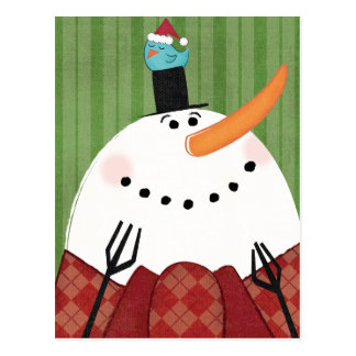 Christmas Snowman with Singing Bird Post Cards