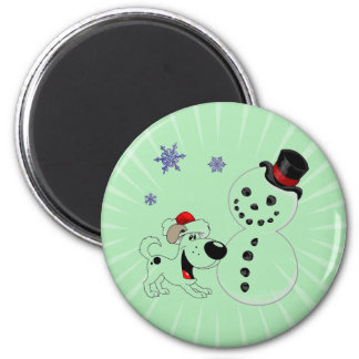 Christmas Snowman with Snowflakes 2 Inch Round Magnet