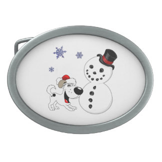 Christmas Snowman with Snowflakes Belt Buckle