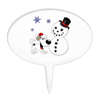 Christmas Snowman with Snowflakes Cake Pick