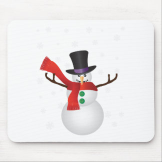 Christmas Snowman with Snowflakes Illustration Mouse Pad