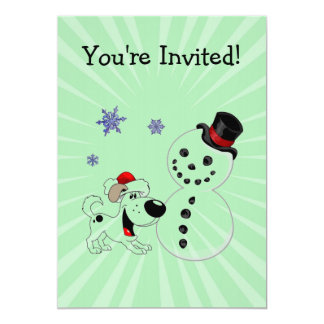 Christmas Snowman with Snowflakes Invitation