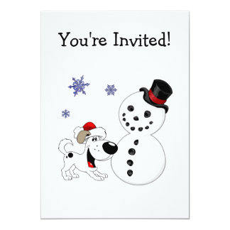 Christmas Snowman with Snowflakes Custom Invitations