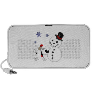 Christmas Snowman with Snowflakes iPod Speakers