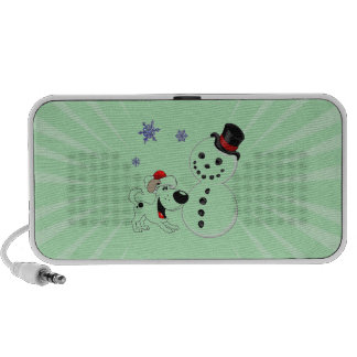 Christmas Snowman with Snowflakes Laptop Speakers