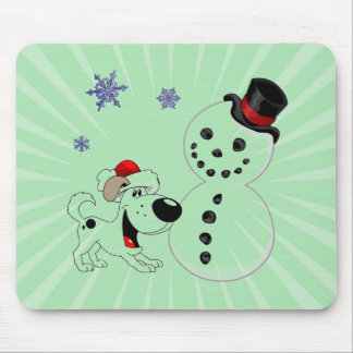 Christmas Snowman with Snowflakes Mouse Pad